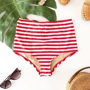 J Crew Ultra High Rise Swim Bottom Bikini Cute Red